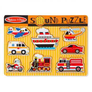 Dřevěné puzzle se zvuky - dopr.prostředky