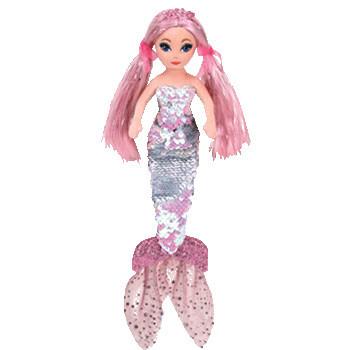 TY Mermaids CORA - flitrová mořská panna růžová 45 cm