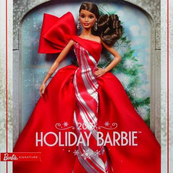Barbie vánoční panenka brunetka