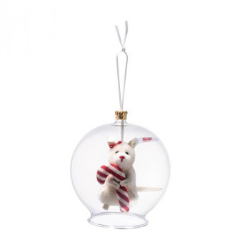 Candy Cane mouse in bauble ornament, whi