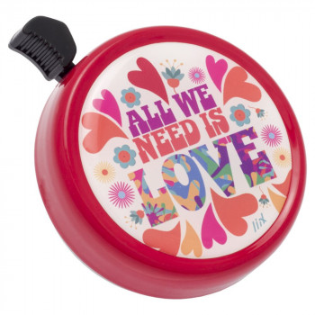 Zvonek na kolo Big Colour Bell All we need is Love Red