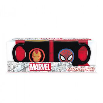 MARVEL - Sada 2 espresso hrnků - 110 ml - Iron Man & Spider-