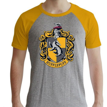 HARRY POTTER - Tshirt Hufflepuff man SS grey & yellow - prem