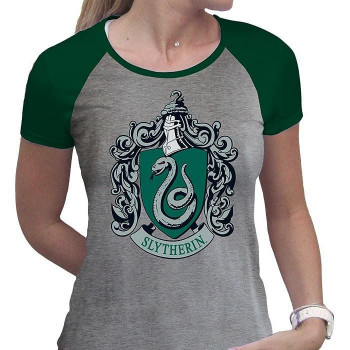 HARRY POTTER - Tshirt Slytherin woman SS grey & green - prem