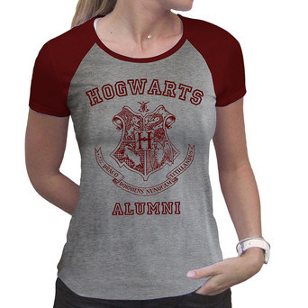 HARRY POTTER - Tshirt Alumni woman SS grey & red - premium M