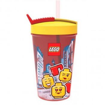 LEGO Iconic Girl láhev s brčkem žlutočervená