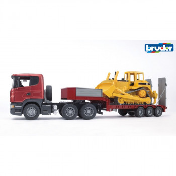 Bruder  3555 SCANIA R-série trailer + CATERPILLAR buldozer