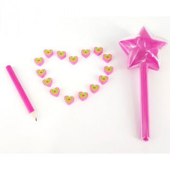Hamleys Mini tužka s mini gumami - růžová