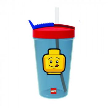 LEGO ICONIC Girl láhev s brčkem - žlutá/červená