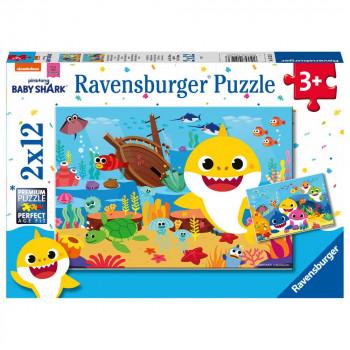 Ravensburger Puzzle 051236 Malý žralok v oceánu 2x12 dílků