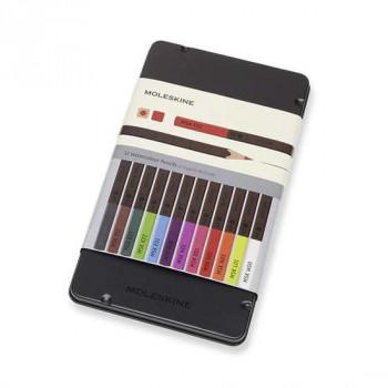 Akvarelové pastelky Moleskine - kovový box - 12 barev