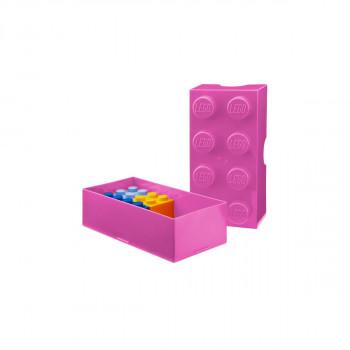 LEGO box na svačinu 100 x 200 x 75 mm - růžová