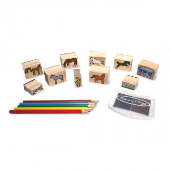 Dřevěná razítka v krabičce /koně/