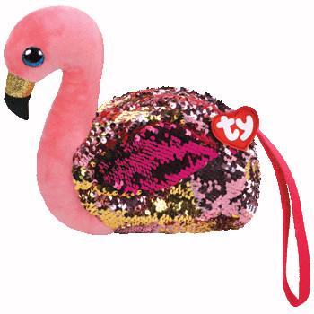 TY Fashion Sequins flitrová taška na zápěstí GILDA - plameňá