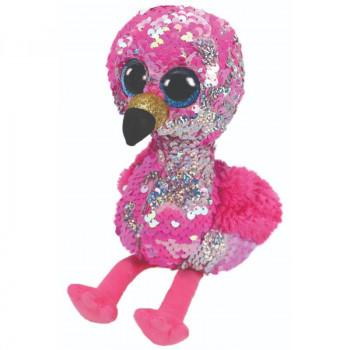TY Beanie Boos Flippables PINKY flitrový plameňák 24 cm