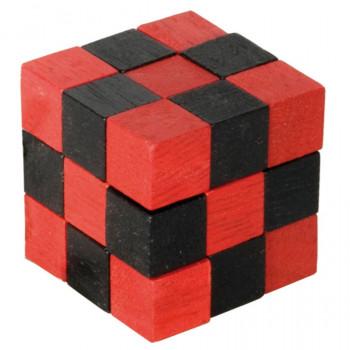 Dřevěný hlavolam, červený/černý
