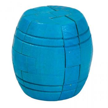 Dřevěný hlavolam Barrel, modrý