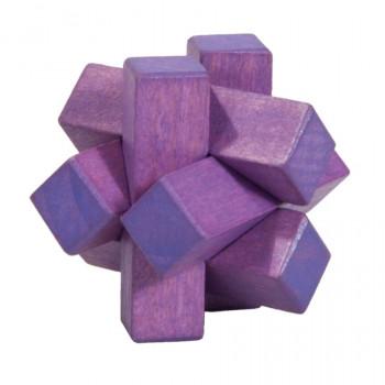 Dřevěný hlavolam Knot, fialový