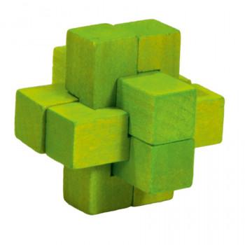 Dřevěný hlavolam Cross, zelený
