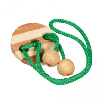 Bambusový provázkový hlavolam v krabičce světle zelený