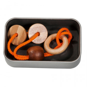 Bambusový provázkový hlavolam v krabičce oranžový