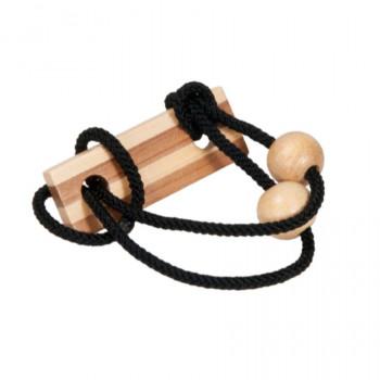 Bambusový provázkový hlavolam v krabičce černý