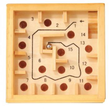 Dřevěná hra - labyrint, 9 cm, přírodní