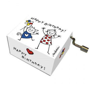 Music Box Happy Birthday Cat & Girl