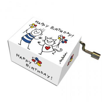 Music Box Happy Birthday Cat & Boy