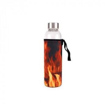 Kikkerland skleněná lahev s obalem (plameny)